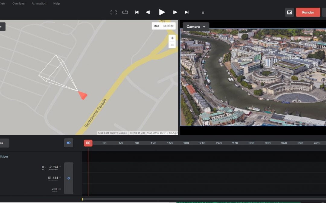We love Google Earth Studio for flyover drone video