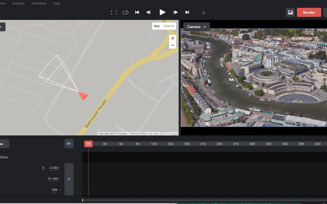 We love Google Earth Studio for flyover drone video